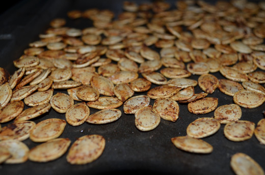 Roasted seeds right out of the oven. Yum.