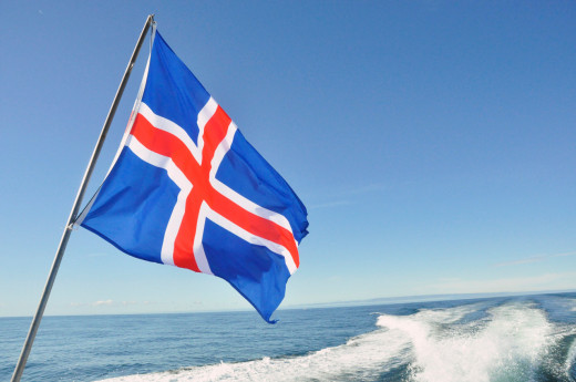 The colors of Iceland's flag represent the blue water, white ice, and red volcanic fire.