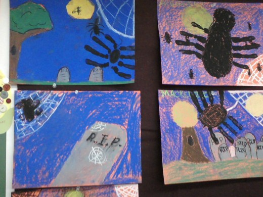 Chalk pastels spiders done by 5th graders