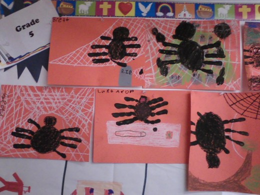 Some more of the 5th graders' spiders