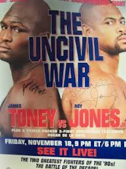 Super Middleweight Champion James Toney vs Roy Jones, Jr. was a major pay per view event in 1994. Both boxers were undefeated when the match took place.