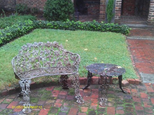 Benches from the foundation of Mrs. Yarrington's Boarding House where Poe wed Virginia Clemm.