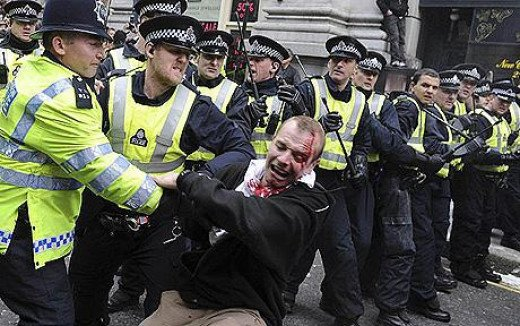 This protester was assaulted by the police at a London G20 protest. Similar assaults happen at other protests around the world, usually because the protesters want a say or practice free speech.