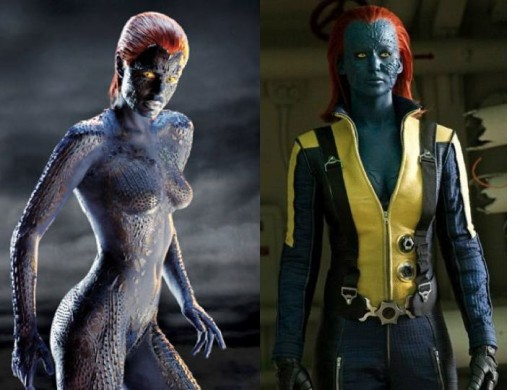 Rebecca Romijn (Stamos) and Jennifer Lawrence as Mystique
