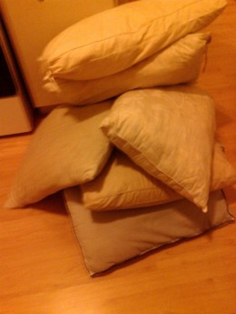 Last time I decluttered I realized I had eleven nasty old pillows that needed to be gotten rid of!