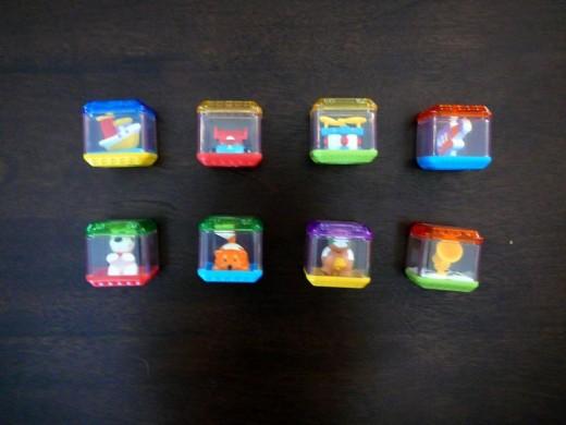 The eight original, interactive Peek-a-Blocks.