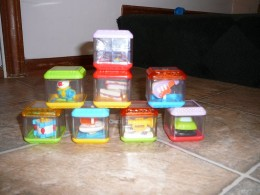 An assortment of Peek-a-Blocks to be used with the Incrediblock.