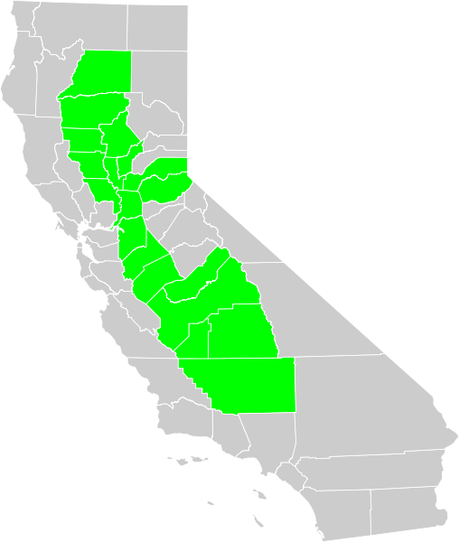 Central Valley of California pictured in Green.