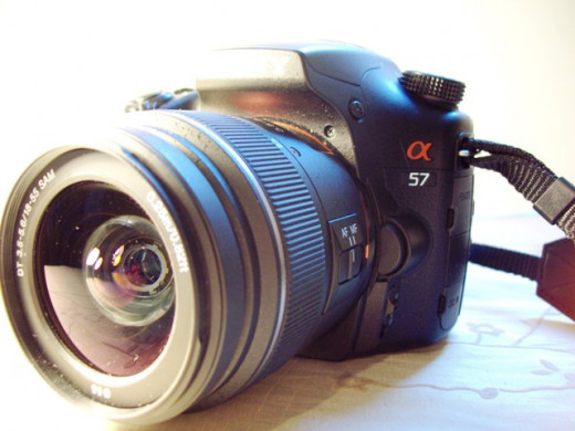 My beloved Sony a57, with its interchangeable lens.