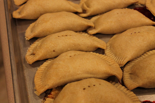 Completed baked pies ready to sell.