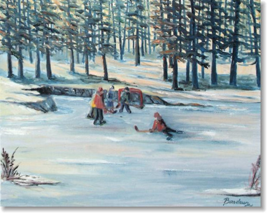 The classic scene - children playing hockey in the winter: what else is there to do in Canada?