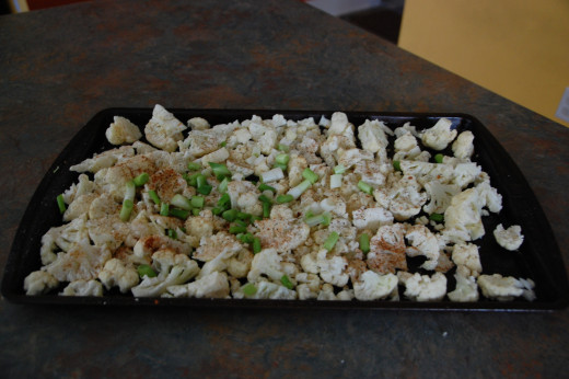 Rough chopped cauliflower, green onions and garlic