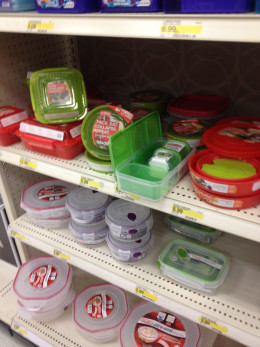 Plastic containers are covenient and come with different serving options: take-out, lunchables, collapsible.