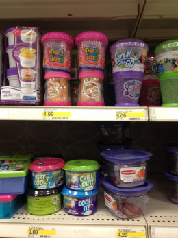 These pink snack containers (on top shelf) are cute, but may take up space in the bag.