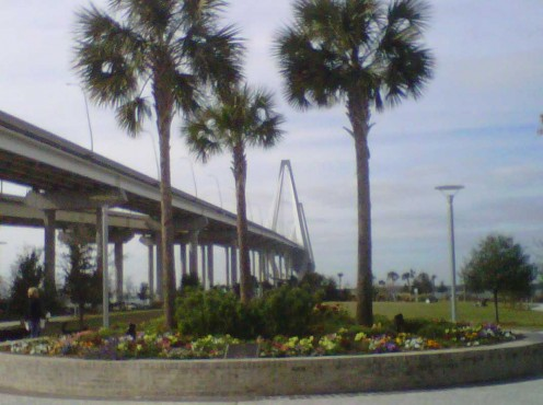 Views of the Arthur Ravenel Jr. Bridge in the background at Mount Pleasant Waterfront Park