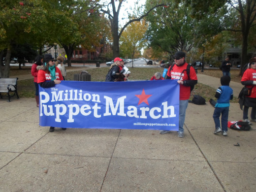 The Million Puppet March rally in Lincoln Park before the march.