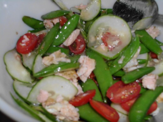 Roasted salmon, snap pea, and cucumber salad recipe from the Weeknights with Giada (c) 2012