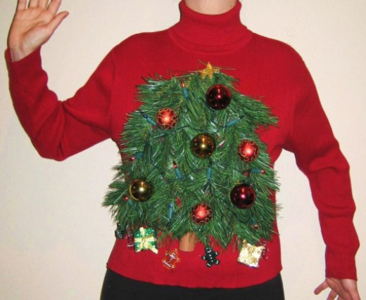 Sweater with Christmas Tree on Front