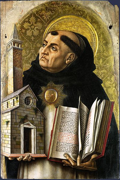 Crivelli's painting depicts Aquinas balancing both the Bible and the Church in his hands, symbolizing the importance of the man, his ministry, and his theology.