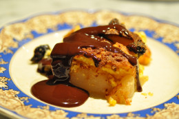 Brioche, Pear and Prune Pudding with Chocolate Sauce Image: © Siu Ling Hui