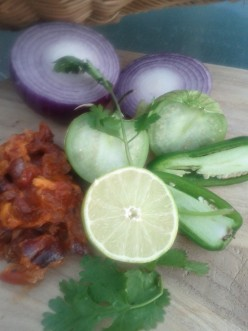 Fresh ingredients for persimmon salsa