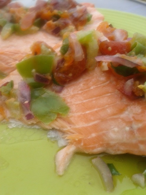Easy broiled salmon with persimmon salsa