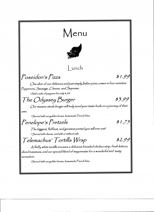A sample of the menu selections from the menu above.
