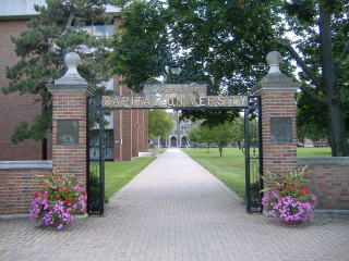The gate of Capital University in Bexley, Ohio