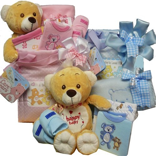 Sweet Baby Diaper Bag Gift Basket with Teddy Bear - Pink Girl or Boy Blue  Amazon