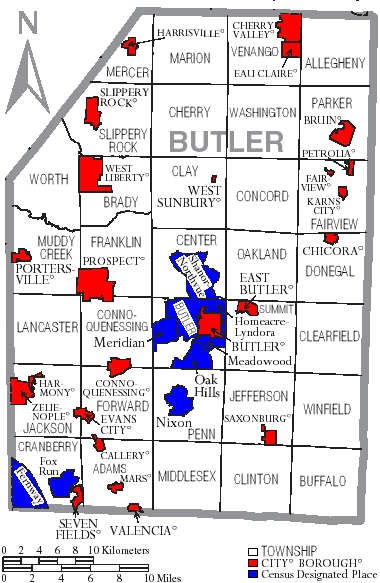 Butler County and it's townships and boroughs.