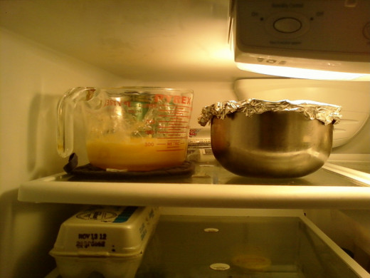 Both the custard and the flavoring chilling in the fridge.