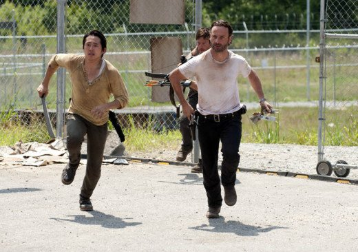 Rick (Lincoln), Daryl (Reedus), and Glen (Yeun) in season 3 of The Walking Dead