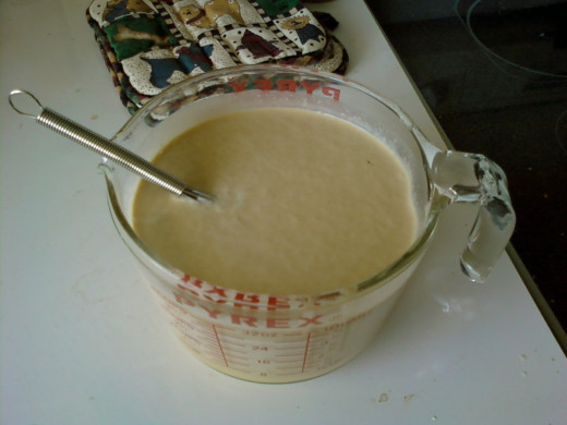 Mix the cream, flavoring, and custard well before churning