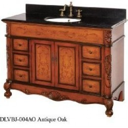 Victorian look with stone top.  This vanity is made to look like a piece of furniture.  Amazon