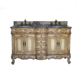 Country French double vanity with an antique look.  Amazon