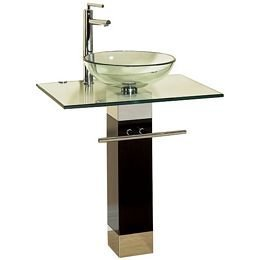 Contemporary glass pedestal.  Amazon