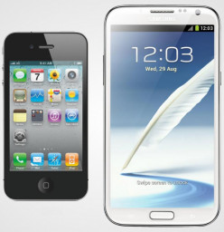 The huge difference in the display size of the Apple iPhone 4S (on the left) and the Samsung Galaxy Note II (on the right).