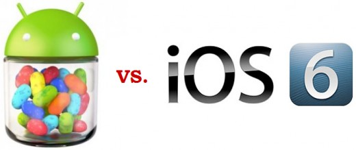 The latest two versions of the two biggest smartphone operating systems - Google's Android Jelly Bean and Apple's iOS 6.