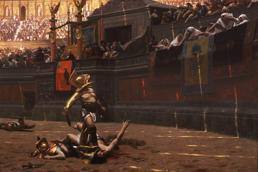 Jean-Léon Gérôme's 1872 painting Pollice Verso. Thumbs Up or Thumbs Down?