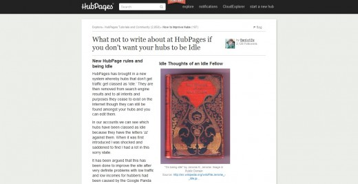 What not to write about at HubPages if you don't want your hubs to be Idle