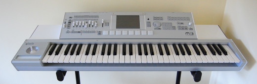 The strange looking top-of-the-line Korg M3 Music Workstation