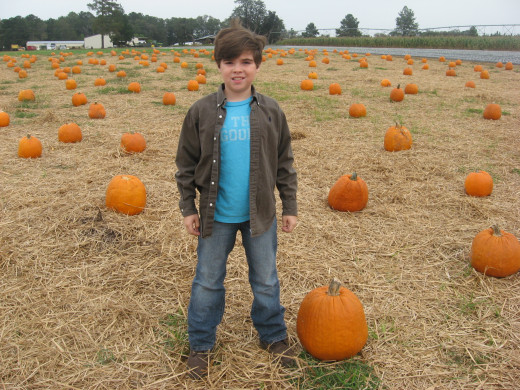 Jonathan chooses his Halloween pumkin.