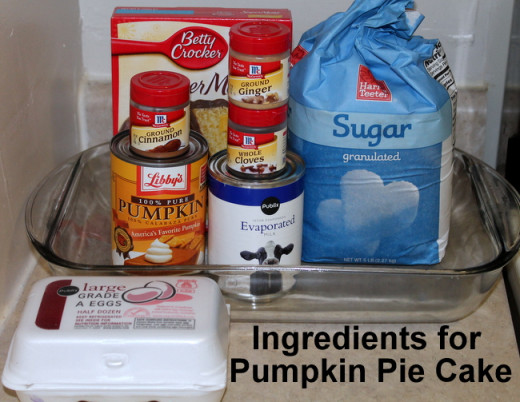 Ingredients for Pumpkin Pie Cake