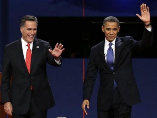 Mitt Romney (left) and Barack Obama (right)