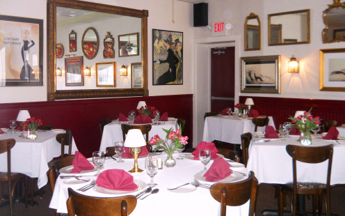The dining room has a charming European decor.