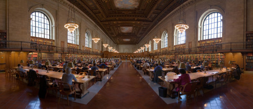 The research room at the New York Public Library, an example of secondary research in progress.