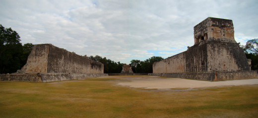 The Great Ball Court at Chichen Itza where the Maya people played their own form of basketball.
