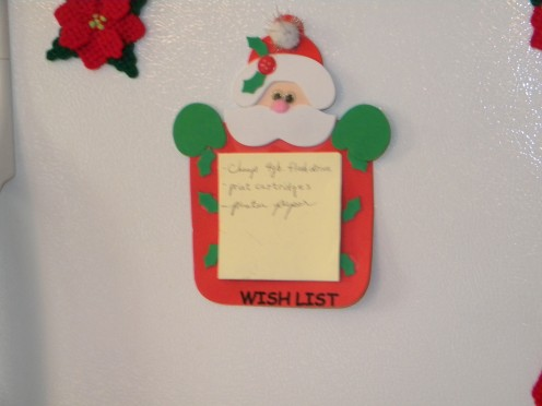 Now there is room on the refrigerator for more important things, like my Christmas Wish List.