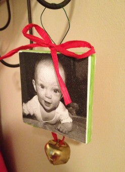 Print photos on canvas for Christmas ornaments!