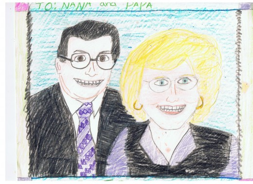 Drawing of my mom and dad by Tori.  The joy in this drawing says it all ... God bless you mom, and dad.
